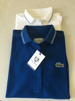 Ladies White & Blue Lacoste Polo Shirt Pair, Size 36/UK 8, Ryder Cup 2018