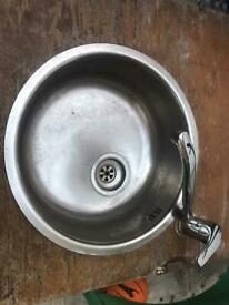 Commercial sink with tab