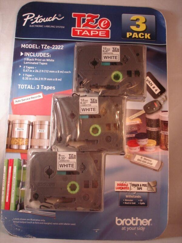Brother 3 Pack TZe-2322 Black Print White Tape Label Cartridges TZe-231 TZe-221