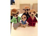 4 Meerkat plush toys