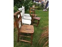 Chapel chairs in various states of repair
