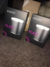 Brand New Sonos Play 1 Speakers In White X2