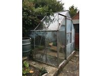 Glass and aluminium greenhouse for sale, approx 2.2 x 2.2m