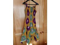 Summer dress for women, yellow with lilac and green trim UK size 12