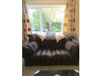 2 Seater Brown Striped Fabric Chunky Sofa and Armchair
