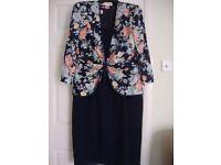 Dress & Jacket Suitable for Wedding Size 16-18 Navy Dress Sweetheart Neckline, Multicoloured Jacket