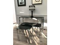 Black Glass and Chrome Console Table, Coffee Table & Lamp Table