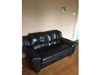 2 SOFAS - one 2-seater and one 3-seater, black FOR FREE good condition