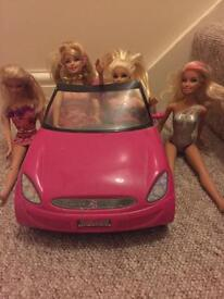 Barbie car and dolls