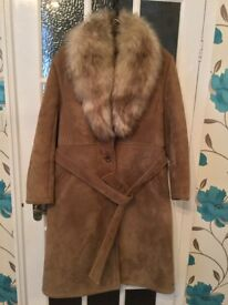 Ladies long length sheepskin coat