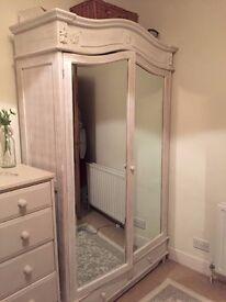 Mirrored distressed white wardrobe