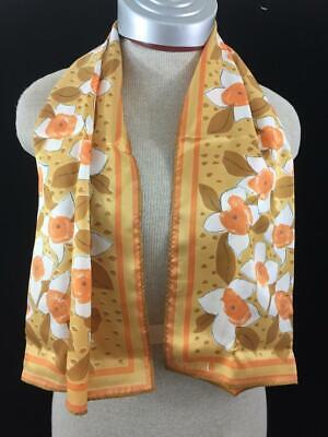 Vintage Scarf Styles -1920s to 1960s VERA fashion scarf vintage long neck orange brown floral Japan acetate 44 x 14 $14.99 AT vintagedancer.com