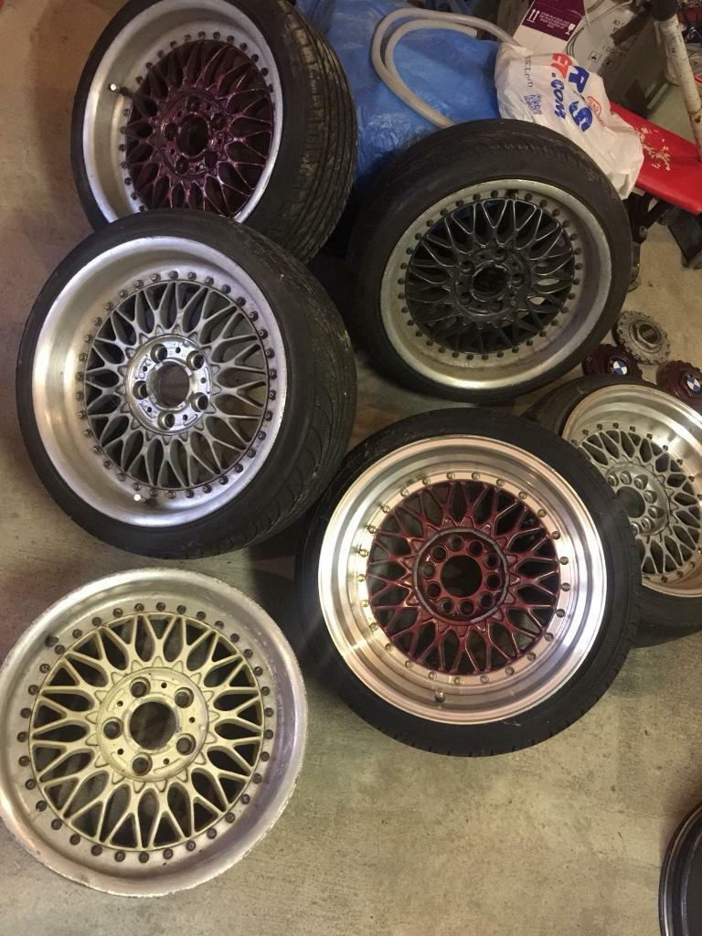 """BBS RC 17"""" 8/9J STYLE 5s RARE STAGGERED BMW ALLOYS and 2 BBS REPS e36 e46"""