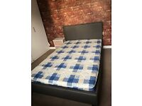 Small Double Leather effect bed frame and mattress