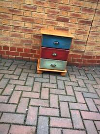 Multicoloured shabby chic side drawers