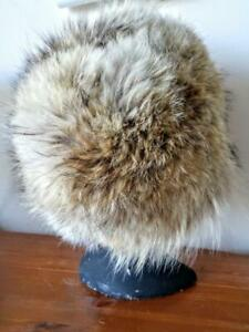 NEW Warm Real Fur Winter Hat COYOTE shipped Custom-made XL 24 Upcycled Fur Trapper Mens Womens Oakville Earflaps ok