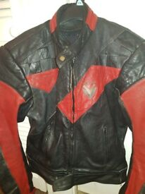 Motorcycle jacket, gloves and boots red