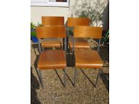 4 Vintage School Chairs. Industrial/Stacking chairs