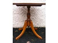 Mid-Century coffee table by Reprodux Bevan Funnell, Regency style, yew wood . Octagonal wine table.