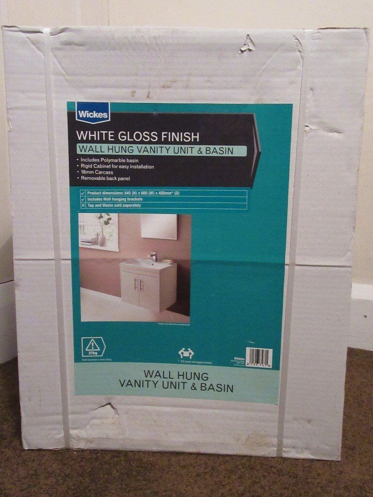 Vanity Units For Bathroom Wickes new wickes white gloss bathroom wall sink vanity unit polymarble