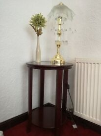 Glass top mahogany occasional table
