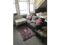Grey corner sofa, near enough brand new. Corner can be changed to either side.
