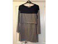Maternity/nursing tunic top. Excellent condition. Navy & white stripe.