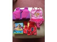 Girls swimming costume and floating aides Age 2-3