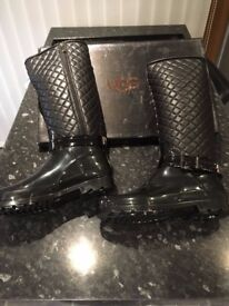 UGG Leather Tall Black Boot. Size 8uk. Womens. New in Box