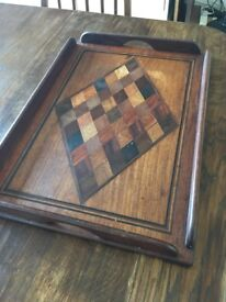 Inlaid checker board wooden butler's tray with two handles. Early 20th Century?