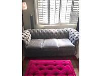Grey velvet chesterfield sofa 3 seater