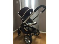 Icandy Peach pushchair and pram. Includes winter foot muff, summer parasol, car seat adaptor