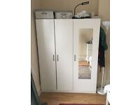 ikea white triple wardrobe, mirrored door, CAN DELIVER