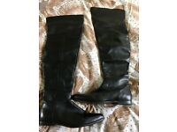 Black real leather knee boots