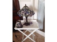 glass tiffany style pair of matching lamps.