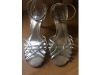 Silver leather 3 inch heel BRAND NEW
