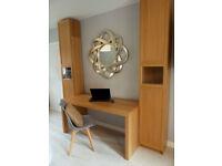 Desk and two bookcases in oak veneer.