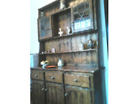 Kitchen dresser, hand crafted, stained pine.
