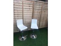 Furniture - 2 white bar stools -£20