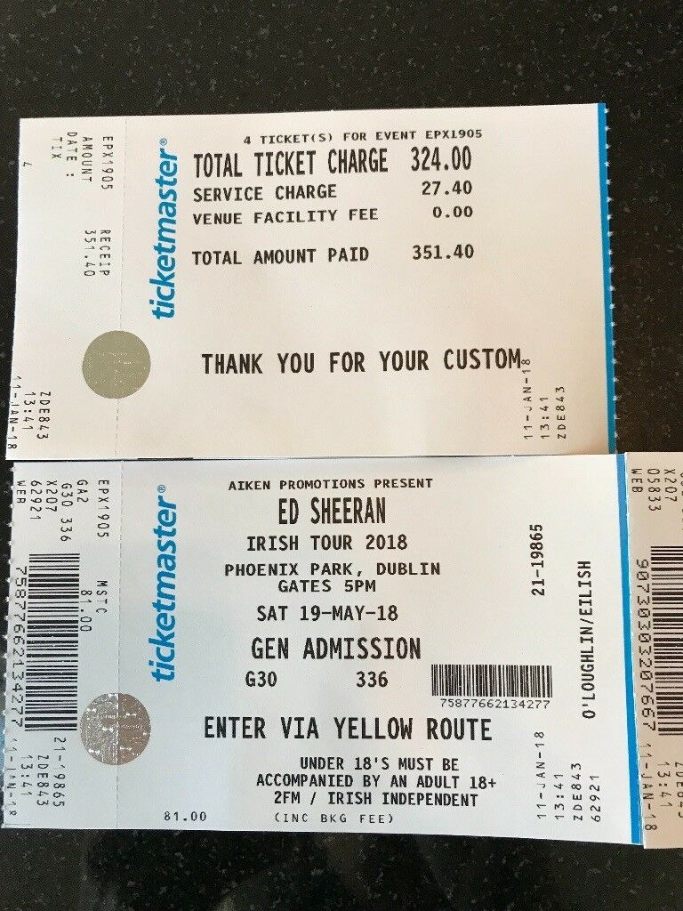 Ed Sheeran tickets. 4 standing tickets for Irish Tour 2018 Phoenix ...