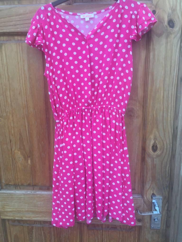 Girls pink polka dot dress