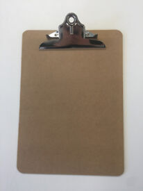 25 x wooden clipboard with pen holder, never used