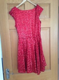 Red sequenced Asos dress with tags size 12