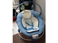Blue baby vibrating chair
