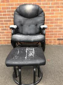 Black leather computer chair and footstool