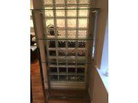 Five tier glass shelving unit
