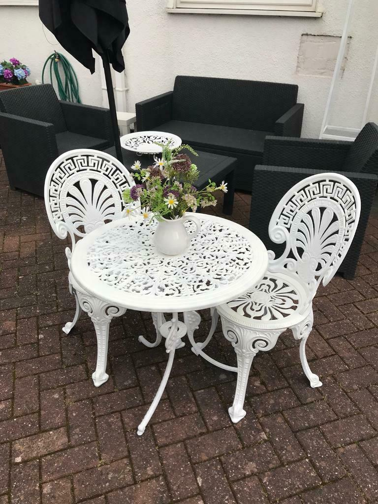 Vintage Garden Table 2 Chairs Bistro Patio Set Cast Metal In Sutton