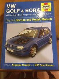 Haynes VW Golf & Bora 2001 to 2003 4-cyl Petrol & Diesel