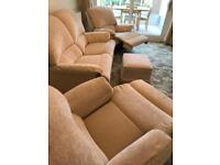 3 Piece Suite and Pouffe, Cream Fabric & Reclining Armchairs