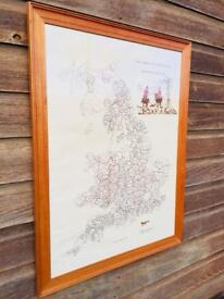Large Framed Fox Hunting Map of England Scotland and Wales